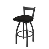 821 Catalina Low Back Swivel Stool with Pewter Finish and Canter Espresso Seat