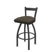 821 Catalina Low Back Swivel Stool with Pewter Finish and Canter Earth Seat