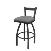 821 Catalina Low Back Swivel Stool with Pewter Finish and Canter Folkstone Grey Seat