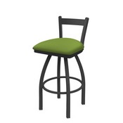 821 Catalina Low Back Swivel Stool with Pewter Finish and Canter Kiwi Green Seat