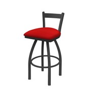 821 Catalina Low Back Swivel Stool with Pewter Finish and Canter Red Seat