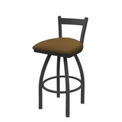 821 Catalina Low Back Swivel Stool with Pewter Finish and Canter Saddle Seat