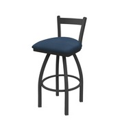 821 Catalina Low Back Swivel Stool with Pewter Finish and Rein Bay Seat