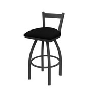 821 Catalina Low Back Swivel Stool with Pewter Finish and Black Vinyl Seat