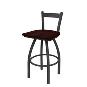 821 Catalina Low Back Swivel Stool with Pewter Finish and Dark Cherry Oak Seat