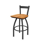821 Catalina Low Back Swivel Stool with Pewter Finish and Medium Maple Seat