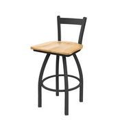 821 Catalina Low Back Swivel Stool with Pewter Finish and Natural Maple Seat