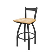 821 Catalina Low Back Swivel Stool with Pewter Finish and Natural Oak Seat