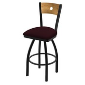 """830 Voltaire 36"""" Swivel Counter Stool with Black Wrinkle Finish, Medium Back, and Canter Bordeaux Seat"""