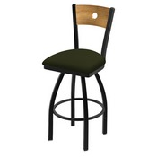 "830 Voltaire 36"" Swivel Counter Stool with Black Wrinkle Finish, Medium Back, and Canter Pine Seat"