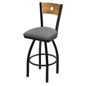 "830 Voltaire 36"" Swivel Counter Stool with Black Wrinkle Finish, Medium Back, and Graph Alpine Seat"