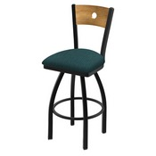"830 Voltaire 36"" Swivel Counter Stool with Black Wrinkle Finish, Medium Back, and Graph Tidal Seat"
