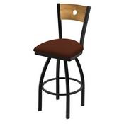 "830 Voltaire 36"" Swivel Counter Stool with Black Wrinkle Finish, Medium Back, and Rein Adobe Seat"