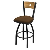 "830 Voltaire 36"" Swivel Counter Stool with Black Wrinkle Finish, Medium Back, and Rein Thatch Seat"
