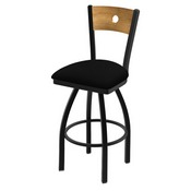 """830 Voltaire 36"""" Swivel Counter Stool with Black Wrinkle Finish, Medium Back, and Black Vinyl Seat"""