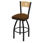 """830 Voltaire 36"""" Swivel Counter Stool with Black Wrinkle Finish, Natural Back, and Canter Thatch Seat"""