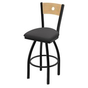 "830 Voltaire 36"" Swivel Counter Stool with Black Wrinkle Finish, Natural Back, and Canter Storm Seat"