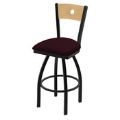 "830 Voltaire 36"" Swivel Counter Stool with Black Wrinkle Finish, Natural Back, and Canter Bordeaux Seat"