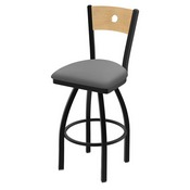 "830 Voltaire 36"" Swivel Counter Stool with Black Wrinkle Finish, Natural Back, and Canter Folkstone Grey Seat"