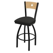 "830 Voltaire 36"" Swivel Counter Stool with Black Wrinkle Finish, Natural Back, and Canter Iron Seat"