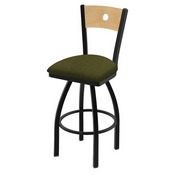 "830 Voltaire 36"" Swivel Counter Stool with Black Wrinkle Finish, Natural Back, and Graph Parrot Seat"