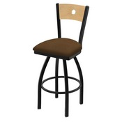 "830 Voltaire 36"" Swivel Counter Stool with Black Wrinkle Finish, Natural Back, and Rein Thatch Seat"