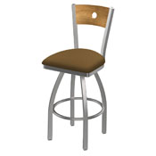 830 Voltaire Swivel Counter Stool with Stainless Finish, Medium Back, and Canter Saddle Seat