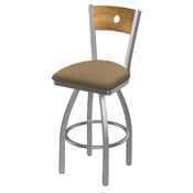 830 Voltaire Swivel Counter Stool with Stainless Finish, Medium Back, and Canter Sand Seat