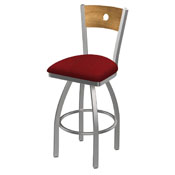 830 Voltaire Swivel Counter Stool with Stainless Finish, Medium Back, and Graph Ruby Seat