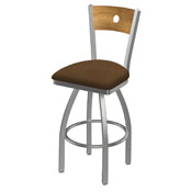830 Voltaire Swivel Counter Stool with Stainless Finish, Medium Back, and Rein Thatch Seat