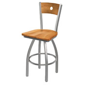 830 Voltaire Swivel Counter Stool with Stainless Finish, Medium Back, and Medium Maple Seat