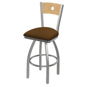 830 Voltaire Swivel Counter Stool with Stainless Finish, Natural Back, and Canter Thatch Seat