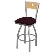 830 Voltaire Swivel Counter Stool with Stainless Finish, Natural Back, and Canter Bordeaux Seat