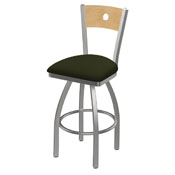 830 Voltaire Swivel Counter Stool with Stainless Finish, Natural Back, and Canter Pine Seat