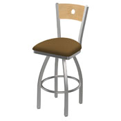 830 Voltaire Swivel Counter Stool with Stainless Finish, Natural Back, and Canter Saddle Seat
