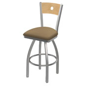 830 Voltaire Swivel Counter Stool with Stainless Finish, Natural Back, and Canter Sand Seat