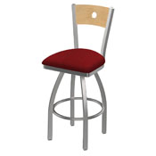 830 Voltaire Swivel Counter Stool with Stainless Finish, Natural Back, and Graph Ruby Seat