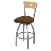 830 Voltaire Swivel Counter Stool with Stainless Finish, Natural Back, and Rein Thatch Seat