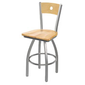 830 Voltaire Swivel Counter Stool with Stainless Finish, Natural Back, and Natural Maple Seat