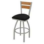 832 Thor Swivel Stool with Anodized Nickel Finish, Medium Back and Canter Espresso Seat