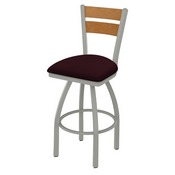 832 Thor Swivel Stool with Anodized Nickel Finish, Medium Back and Canter Bordeaux Seat