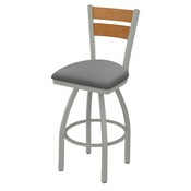 832 Thor Swivel Stool with Anodized Nickel Finish, Medium Back and Canter Folkstone Grey Seat