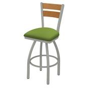 832 Thor Swivel Stool with Anodized Nickel Finish, Medium Back and Canter Kiwi Green Seat