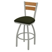832 Thor Swivel Stool with Anodized Nickel Finish, Medium Back and Canter Pine Seat