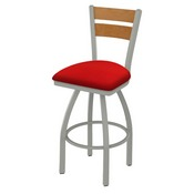 832 Thor Swivel Stool with Anodized Nickel Finish, Medium Back and Canter Red Seat