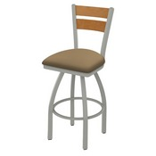 832 Thor Swivel Stool with Anodized Nickel Finish, Medium Back and Canter Sand Seat