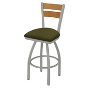 832 Thor Swivel Stool with Anodized Nickel Finish, Medium Back and Graph Parrot Seat