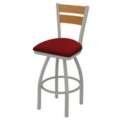 832 Thor Swivel Stool with Anodized Nickel Finish, Medium Back and Graph Ruby Seat