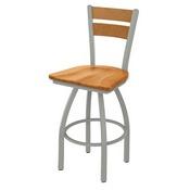 832 Thor Swivel Stool with Anodized Nickel Finish, Medium Back and Medium Maple Seat
