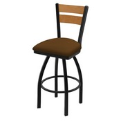 832 Thor Swivel Stool with Black Wrinkle Finish, Medium Back and Canter Thatch Seat